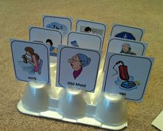 Really cute Old Maid - Speech Artic version game.  Also, a brilliant idea for DIY card holders for kids who have little hands that cannot hold so many cards!  Blog source:  Testy Yet Trying.