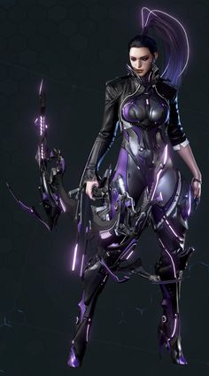 detailed scifi neon and rubber archer girl Chica Fantasy, Fantasy Girl, Female Character Design, Character Art, Character Concept, Armor Concept, Concept Art, Mode Cyberpunk, Female Armor