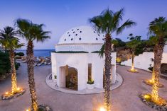 Kalithea Spring Therme Illuminated at Blue Hour after Sunset, Rh Blue Hour, Greece Travel, Rhodes, Twilight, Snow Globes, Movie, Sunset, Interior Design, Spring