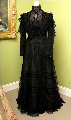 Afternoon dress, American, ca. 1898. Black silk and lace. Bruce Museum, Greenwich, CT
