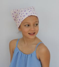 Mia Children's Flannel Head Cover, Girl's Cancer Headwear, Chemo Scarf, Alopecia Hat, Head Wrap, Cancer Gift for Hair Loss - Purple Stars