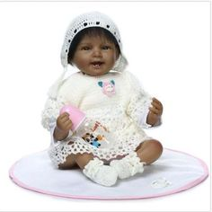 HOT 22'' Full Body Silicone Reborn Baby Doll Lifelike black Baby Dolls+Clothes