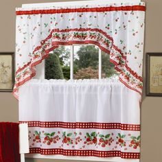 Achim Strawberry Vine Printed Tier Curtain and Swag Set Red - SVTS36RD12