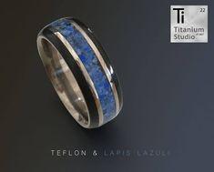 Titanium base ring with black Teflon edge and blue lapis lazuli gemstone inlay. Titanium Rings, Lapis Lazuli, Wedding Bands, Rings For Men, Engagement Rings, Gemstones, Blue, Jewelry, Jewellery Making
