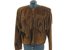 Jacket Leather Fringe Western Vintage 80s Tan  Hemisphere Size M Bust 42#vintagejacket80s#leatherfringe