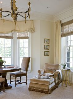 """I REALLY like the relaxed Romans paired with woven woods, draperies out of the same fabric on the other wall with wovens.  Flows nicely without being too """"same-y"""" - SLC Interiors"""