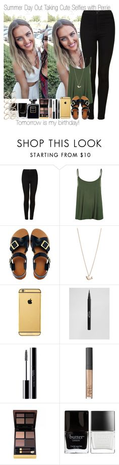 """""""Tomorrow is my Birthday ~ Summer Day Out Taking Cute Selfies with Perrie"""" by elise-22 ❤ liked on Polyvore featuring Topshop, WearAll, ASOS, Minor Obsessions, Goldgenie, Stila, shu uemura, NARS Cosmetics, Tom Ford and Butter London"""