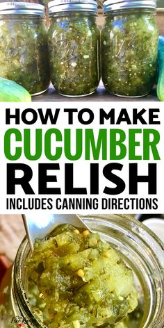 Use your homegrown cucumbers to make this simple, homemade pickle relish. Canned for longer storage this relish can be enjoyed all year long! Relish and hotdogs what could be better. Preserving Cucumbers, Pickling Cucumbers, Preserving Food, How To Pickle Cucumbers, Cucumber Relish Recipes, Recipe For Relish, Cucumber Chutney, How To Make Pickles, How To Make Relish