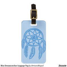 Blue Dreamcatcher Luggage Tag; Abigail Davidson Art; ArtisanAbigail at Zazzle