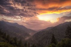 A perfect sunrise in The Smoky Mountains.