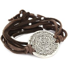 Ettika Brown Leather Wrap Bracelet Silver Colored Phaistos Coin Charm (97 CAD) ❤ liked on Polyvore featuring jewelry, bracelets, accessories, pulsera, leather charm, tassel jewelry, coin jewelry, charm jewelry and leather tassel charm