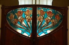 Art Nouveau stained glass door Musee d'Orsay, Paris.