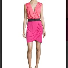 Halston Heritage Colorblock Wrap Dress This beautiful dress is a staple for your spring and summer wardrobe. It can be dressed up or down. side zip closure. Halston Heritage Dresses Midi