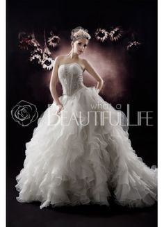 $189.99  Strapless Satin And Organza #Ball #Gown #Wedding #Dress With Egyptian Beading And Ruffled Bottom