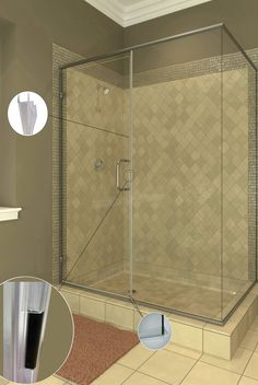 """Clearview Option (MP and RP Series)  Incorporates the function and practicality of 1/4"""" glass with the look and design of a heavy frameless enclosure. With no additional vertical posts between wall jambs, and a polycarbonate strike seal, this unit is ideal for highlighting custom tile work or artistic decorative bands."""