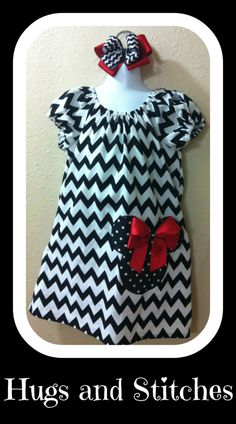 Chevron Mickey Mouse Dress w/ Cap Sleeves