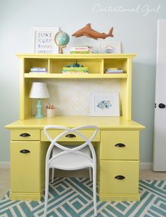 yellow painted desk and hutch with @bhglivebetter