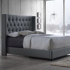 Katherine Transitional Gray Fabric Upholstered Queen Size Bed