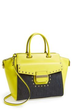 I don't know why but I kind of like the bright yellow //  Milly 'Colby' Denim Stud Tote available at #Nordstrom