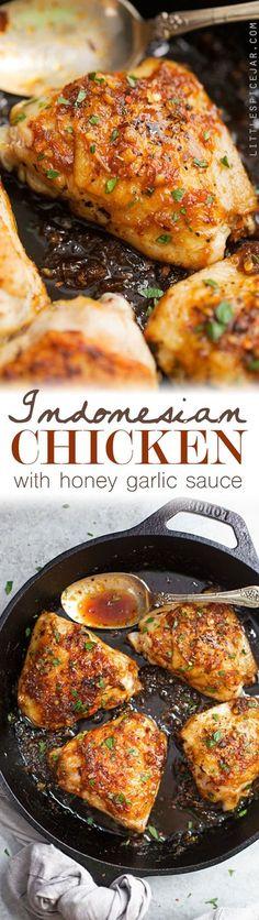 Indonesian Honey Garlic Chicken - Simple chicken thighs spiced up with a homemade honey garlic sauce! #chickenthighs #chicken #honeygarlicchicken | Littlespicejar.com