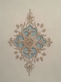 Centro soffitto ex novo Wall Painting Decor, Art Decor, Motif Arabesque, Grisaille, Ceiling Design, Wall Murals, Embroidery Designs, Pattern Design, Diy And Crafts