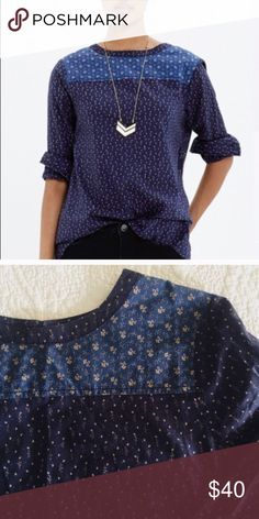 Super cute vintage Madewell. Size M Calico print fabric. Has a really boho vibe. I bought off posh this last year and used it in my fall capsule. Loved the variety of ways I could wear it. Madewell Tops Blouses
