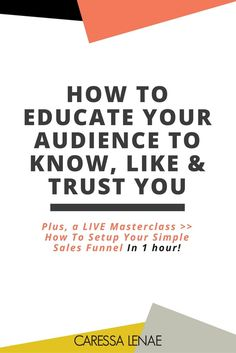 The effectiveness of your sales funnel begins with the content you produce to educate your audience so they can know, like and trust you. Find out the recipe and join the masterclass so you can have a profitable sales funnel foundation via @CaressaLenae