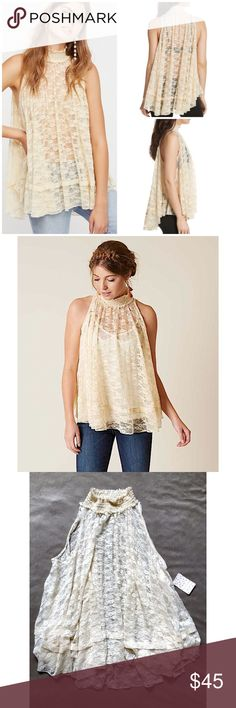 """Free People Myrna Lace Floral Sheer Tunic Tank Top NEW Free People Cream Myrna Lace Floral Mock Neck Sheer Tunic Tank Top Sz Medium   Brand:Free People will fit larger too, free-flowing shape Condition: new with tags 92% nylon, 8% spandex A prim high neck begins a dreamy swirl of lace that adds a sheer sassy layer to your night-out look.  •Slips on over head •Stand collar •Sleeveless •Sheer Measurements laying down: Chest: 28"""" (S); 30.5"""" (M) Center length (shoulder to hem)…"""