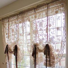 diaidi rural sheer curtains lace, hollow balloon blinds, vintage