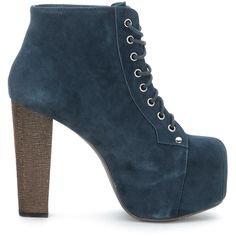 Jeffrey Campbell Boots ($145) ❤ liked on Polyvore featuring shoes, boots, ankle booties, blu, navy suede boots, suede bootie, lace up wooden heel booties, suede ankle boots and navy booties