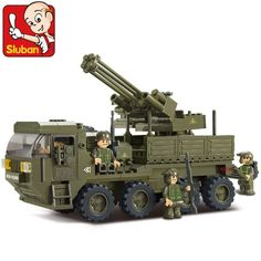 Sluban0302 heavy transport truck army antiaircraft artillery Assembled Plastic Model Building Blocks Bricks