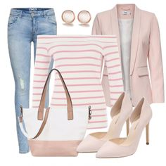 Pink Stripes Ladies Outfit – Complete Spring Outfit acquistare a buon mercato Komplette Outfits, Spring Outfits, Trendy Outfits, Fashion Outfits, Womens Fashion, Fashion Trends, Spring Dresses, Skinny Jeans Damen, Mode Jeans