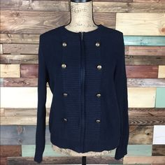 Navy Chunky Knit Zip Up Cardigan Navy Chunky Knit Zip Up Cardigan   Gorgeous knit sweater, in pristine condition. Decorative buttons that give a #nautical vibe.  Worn only 2x as I purchased wrong size.   #woodsnap #loft #zipupcardigan #nauticalsweater #navycardigan LOFT Sweaters Cardigans