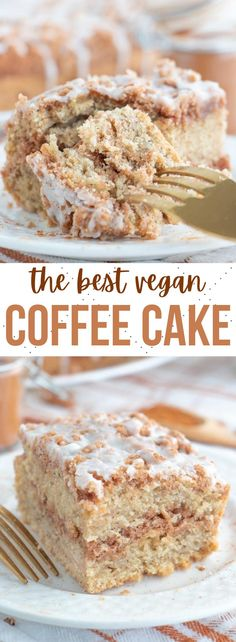 The best ever vegan coffee cake recipe with a brown sugar and cinnamon crumb topping, moist cake center and light and sweet glaze on top! #vegancoffeecake #vegancake #vegandesserts #coffeecake Healthy Vegan Desserts, Vegan Dessert Recipes, Delicious Vegan Recipes, Vegan Sweets, Vegan Snacks, Brownie Recipes, Delicious Desserts, Brunch Recipes, Vegan Food