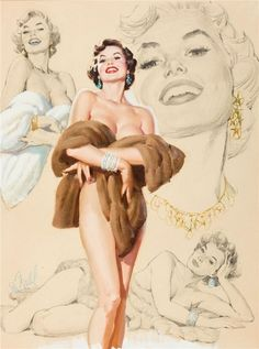 Al Buell - Al Buell's Beauties (1961) - Pin-up wearing Fur and Jewelry
