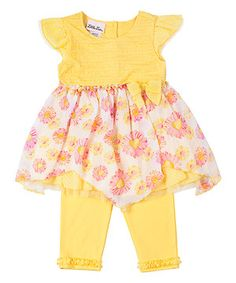 Love this Yellow Floral Tunic & Leggings - Toddler & Girls by Little Lass on #zulily! #zulilyfinds