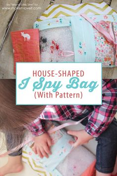 """Make this cute and fun house shaped """"I Spy"""" Bag using the free pattern provided!"""