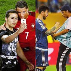 Kalo dikasih kesempatan mau pilih mana selfi sama #CR7 atau dapet tanda tangan di jersey dari #Messi
