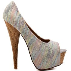 Shake away the haters in the Chandanie peep toe pump.  Dereon brings you a show stopping heel with a grey multi colored fabric upper and accenting cork.  You'll love the bold and edgy look the 6 inch heel and 2 inch platform gives you.