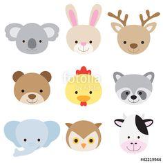 Vector illustration of animal faces including koala, rabbit, deer,. Owl Cartoon, Cute Cartoon Animals, Cartoon Faces, Cute Animals, Cow Vector, Vector Stock, Vector Vector, Felt Patterns, Animal Faces