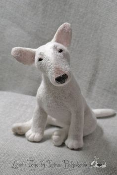 Needle felted bullterrier by Irina Polyakova #felting #art #needle_felting #bullterrier #dog #toy #handcraft #hand_craft #cute #sculpture #wool