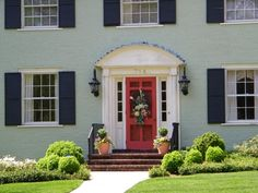 front door colors on light green house - Google Search