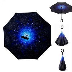 שמי זרועי הכוכבים אנטי UV הפוך שכבה כפולה מטריית קיפול הפוך הגנת גשם שמש Anjos Chuva עמדה עצמית מבפנים החוצה