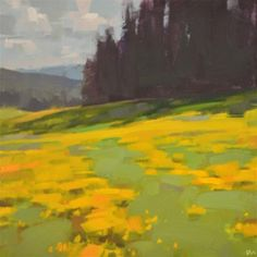 "Daily Paintworks - ""Golden Field"" - Original Fine Art for Sale - © Carol Marine"