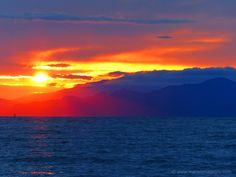 Maremma sunset in October from Punta Ala beach over the Island of Elba