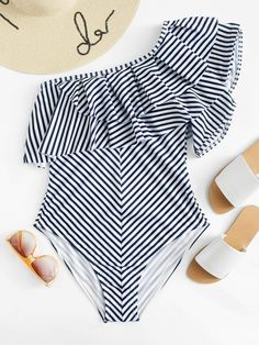 Shop Plus One Shoulder Ruffle Striped One Piece Swimsuit online. SHEIN offers Plus One Shoulder Ruffle Striped One Piece Swimsuit & more to fit your fashionable needs. Plunging One Piece Swimsuit, One Piece Swimwear, Fashion News, Fashion Outfits, Fashion Fashion, Vintage Fashion, Plus Size One Piece, Mix And Match Bikini, Striped One Piece