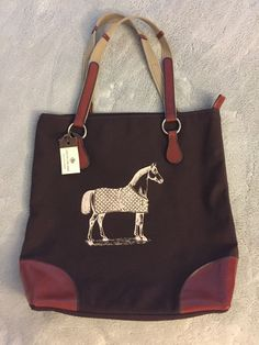 Rebecca Ray Horse Equestrian Burghley Tote Chocolate Brown Tan Canvas/Leather! in Sporting Goods, Outdoor Sports, Equestrian | eBay