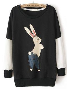 Black Long Sleeve Mashimaro Pattern Loose Sweatshirt pictures