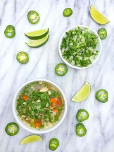 Caldo de Pollo (Mexican Chicken Soup) - a quick, weekday version of the Mexican comfort food classic. Serves 3 -- feel free to add brown rice, wild rice, and/or avocado as appropriate for your Phase/B (Rotisserie Chicken Soup) Healthy Slow Cooker, Healthy Crockpot Recipes, Slow Cooker Recipes, Crockpot Meals, Easy Recipes, Pollo Recipe, Lemon Bowl, Comida Latina, Chicken Soup Recipes
