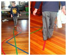 walking on colored lines